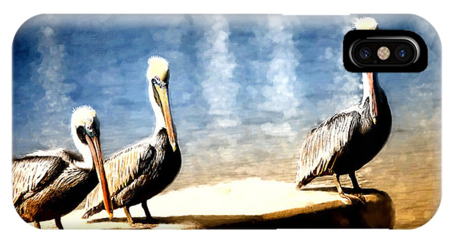 Birds Pelican Three Water Dock Blue Orange Yellow White Grey Red Nature Outdoor Sunset Daytime Light Shadow Waves Long Beak Standing Together One Alone Sleeping Looking Feather Web Feet Painted IPhone X Case featuring the painting Together by Jody McNary