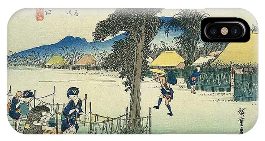 Tokaido IPhone X Case featuring the painting Tokaido - Minakuchi by Philip Ralley