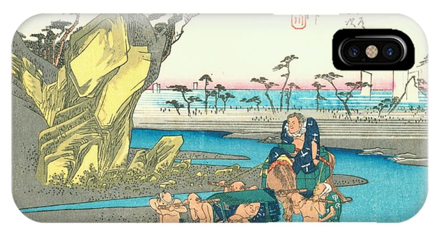 Tokaido IPhone X Case featuring the painting Tokaido - Okitsu by Philip Ralley