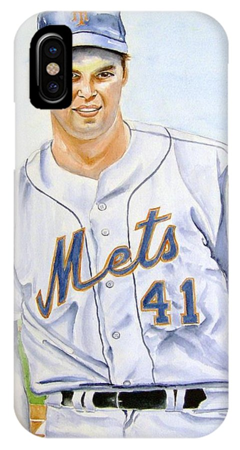 Tom Seaver IPhone X Case featuring the painting Tom Seaver by Brian Degnon