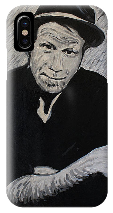 Tom Waits IPhone X Case featuring the painting Tom Waits by Bridget Brummel