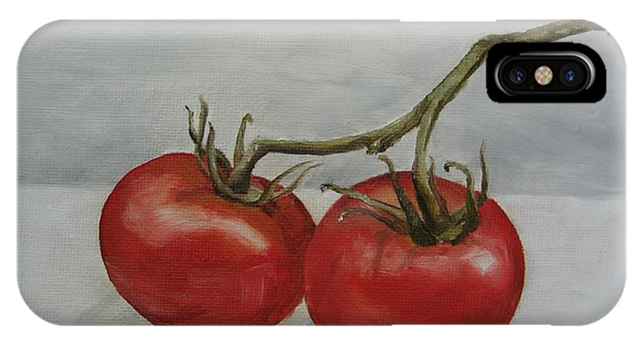 Oil IPhone X Case featuring the painting Tomatoes On Vine by Jindra Noewi
