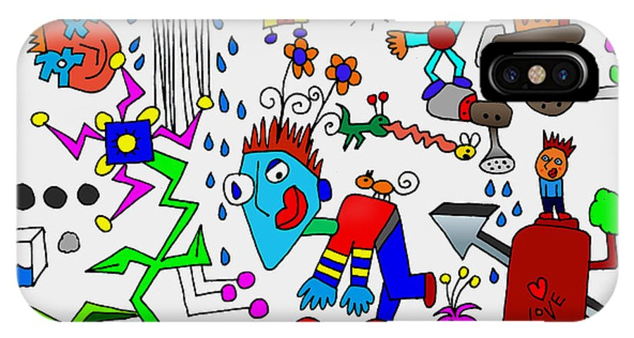 Doodle Art IPhone X Case featuring the digital art Too Crazy For Me by Corey Couturier