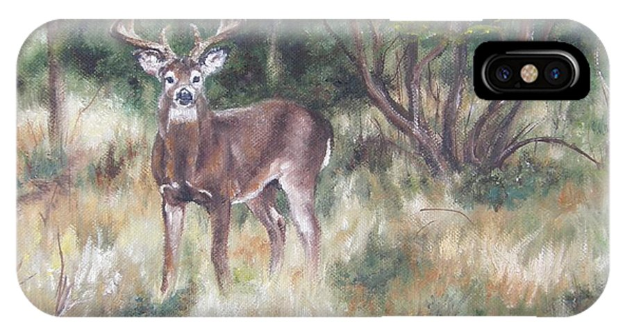 Deer IPhone X Case featuring the painting Too Tempting by Lori Brackett