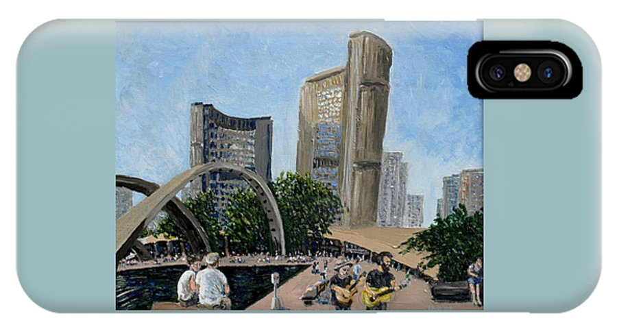Toronto IPhone X Case featuring the painting Toronto City Hall by Ian MacDonald