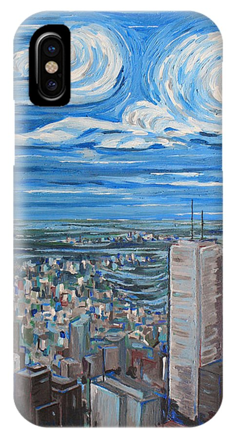 Toronto IPhone X Case featuring the painting Toronto Cn Tower Veiw North East by Bridget Brummel