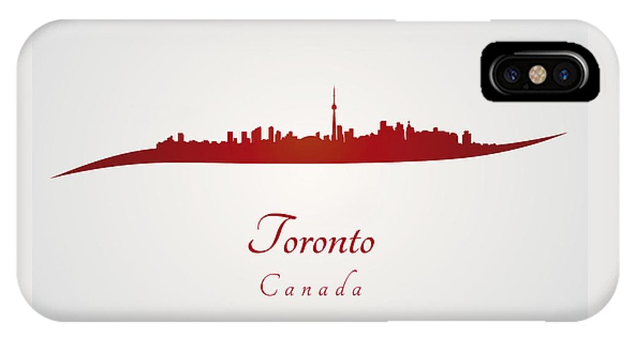 Toronto Skyline IPhone X Case featuring the digital art Toronto Skyline In Red by Pablo Romero