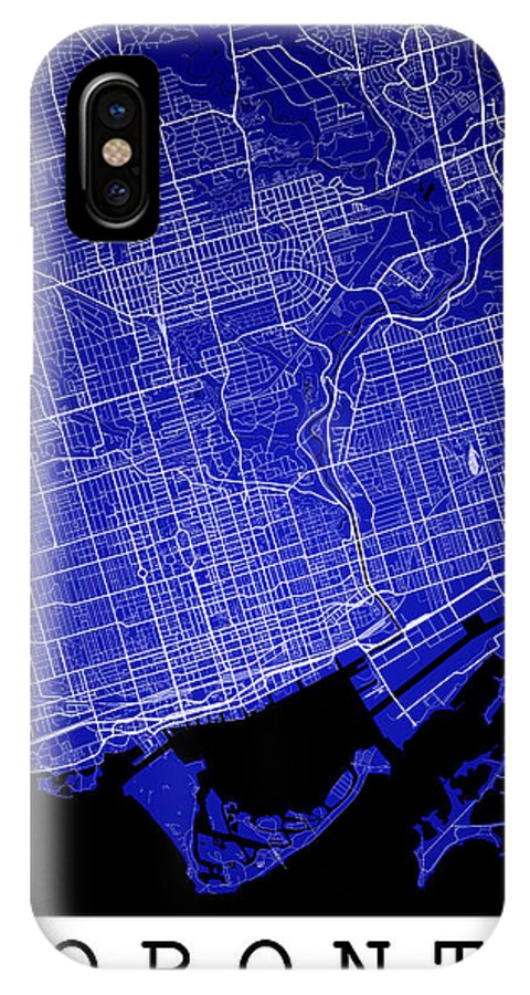 Road Map IPhone X Case featuring the digital art Toronto Street Map - Toronto Canada Road Map Art On Colored Back by Jurq Studio