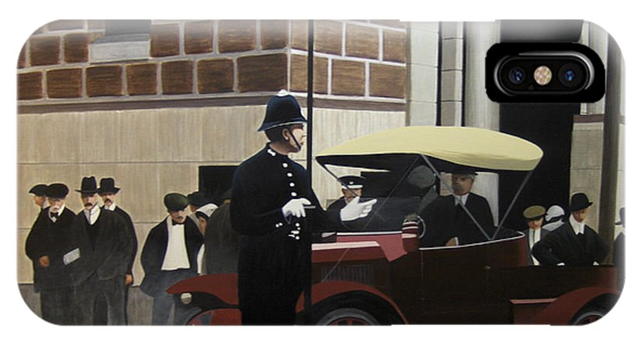 Streetscapes IPhone X Case featuring the painting Toronto Traffic Cop 1912 by Kenneth M Kirsch
