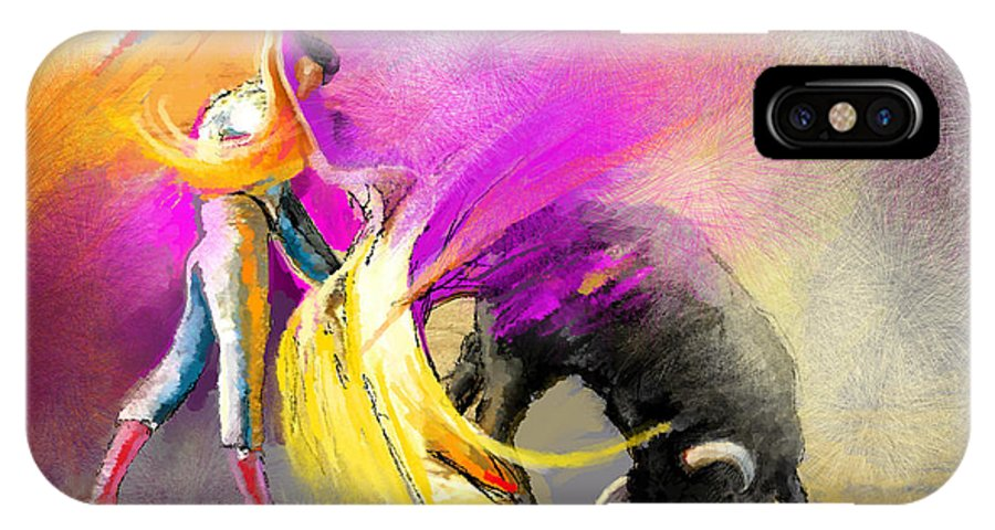 Bullfight IPhone X Case featuring the painting Toroscape 52 Bis by Miki De Goodaboom