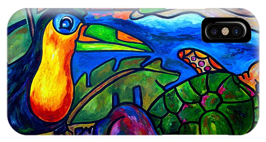 Toucan IPhone X Case featuring the painting Tortuga Eco Tour by Patti Schermerhorn
