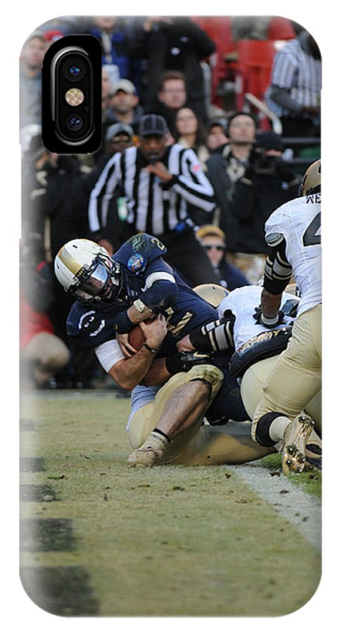 Football IPhone X / XS Case featuring the photograph Touchdown Navy by Mountain Dreams