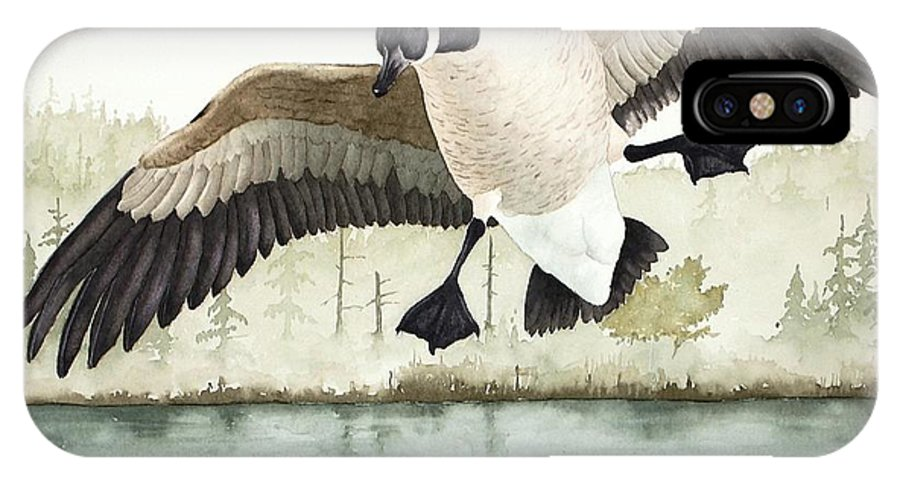 Goose IPhone X Case featuring the painting Touchdown by Richard Rooker