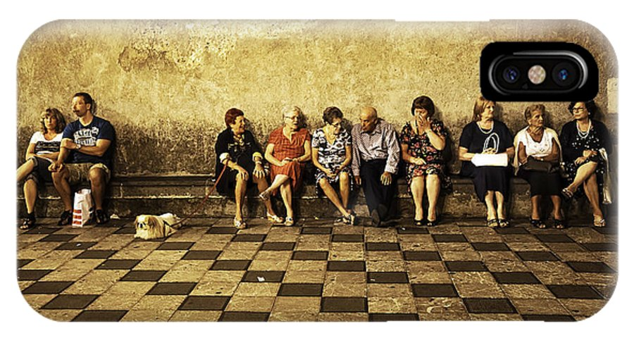 People IPhone X Case featuring the photograph Tourists On Bench - Taormina - Sicily by Madeline Ellis