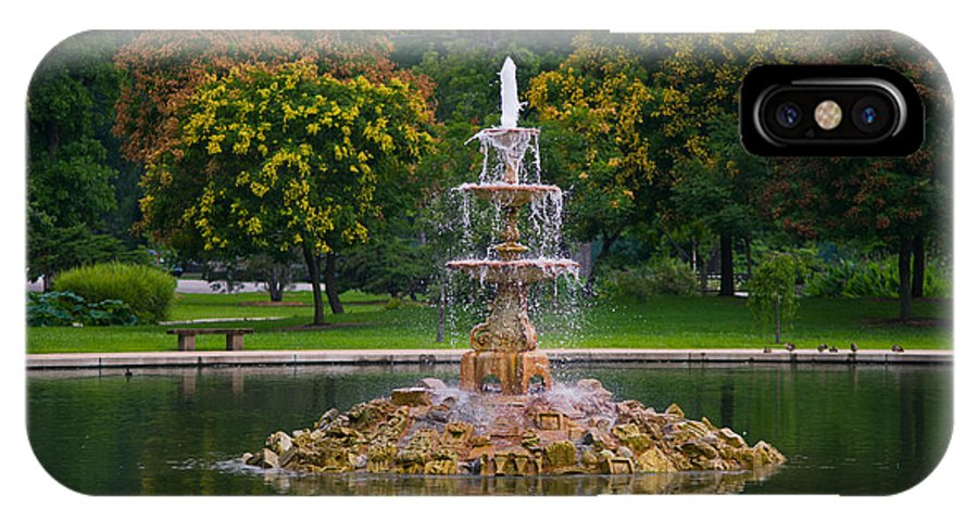 Y Tiefenbrunn IPhone X Case featuring the photograph Tower Grove Fountain by Cindy Tiefenbrunn