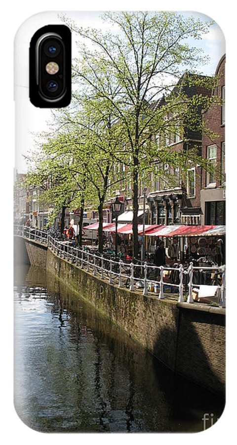 Town Canal IPhone X Case featuring the photograph Town Canal - Delft by Christiane Schulze Art And Photography