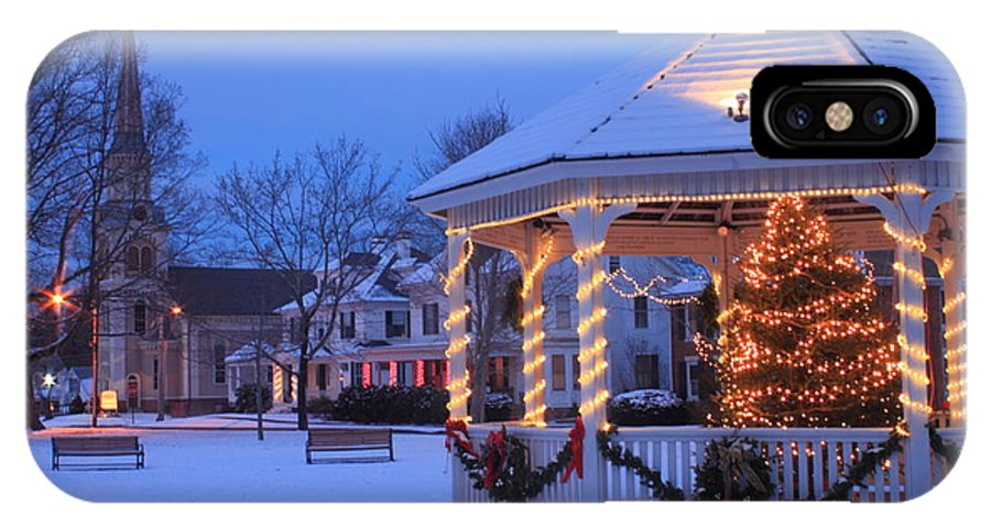 Winter IPhone X Case featuring the photograph Town Common Holiday Scene Brookfield Massachusetts by John Burk