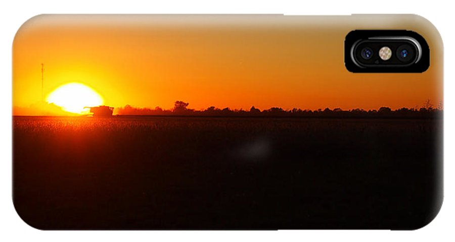 Tractor IPhone X Case featuring the photograph Tractor At Sunset by Thomas Wasson
