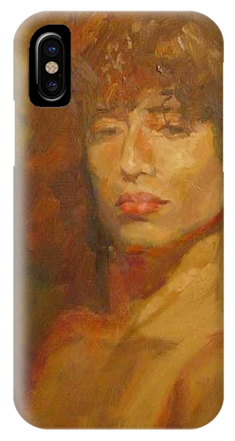 Portrait IPhone X Case featuring the painting Tracy by Irena Jablonski