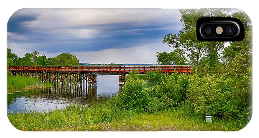 Lake IPhone X Case featuring the photograph Trail Bridge by Bryan Benson