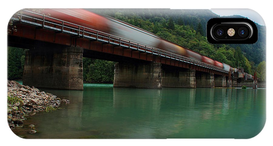 Train IPhone X Case featuring the photograph Train In Motion by Brent Davis