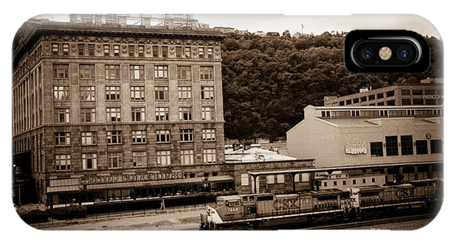 Allegheny County IPhone X Case featuring the photograph Train Passes Station Square Pittsburgh Antique Look by Amy Cicconi