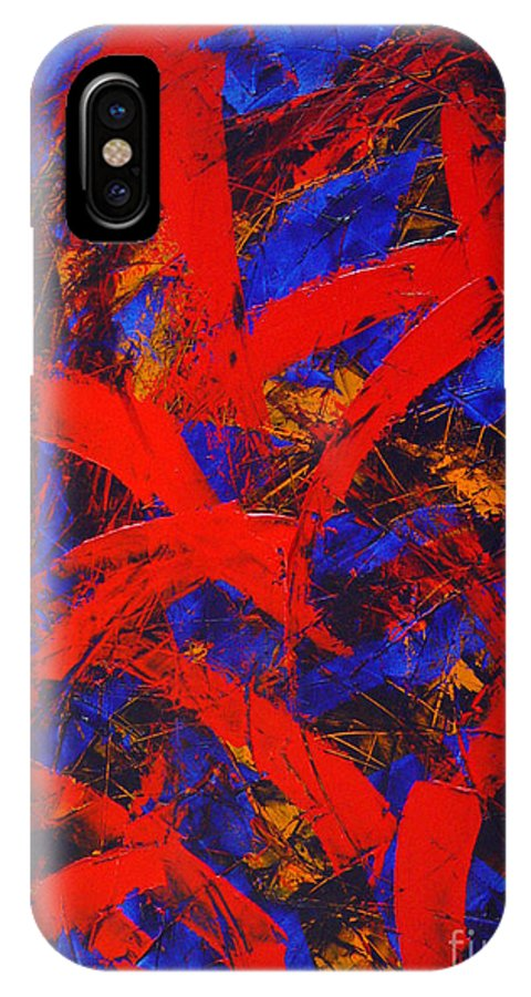 Abstract IPhone X Case featuring the painting Transitions With Blue And Red by Dean Triolo