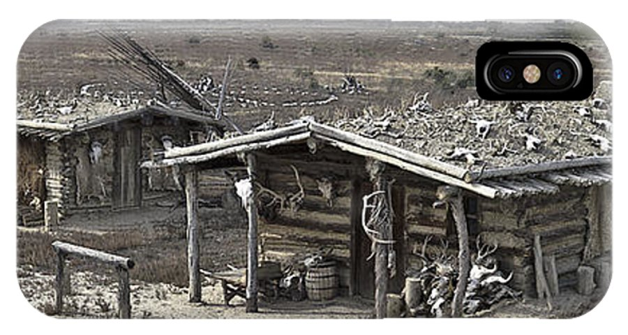 Trapper IPhone X Case featuring the photograph Trapper Dan's Log Cabins by David Kehrli