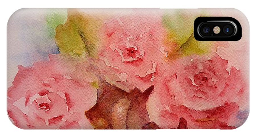 Roses IPhone X Case featuring the painting Tre Rose by Kathleen Pio