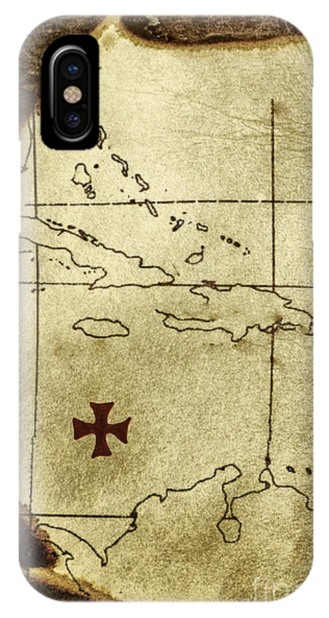 Map; Treasure Map; Treasure; Burned; Leather; Paper; Nautical; X; X Marks The Spot; Destination; Pirate; Seek; Sought; Old; Dirty; Sepia; Grunge; Torn; Ripped; Adventure; Hunt; Hide; Hidden; Hiding; Buried IPhone X Case featuring the photograph Treasure Hunt by Margie Hurwich