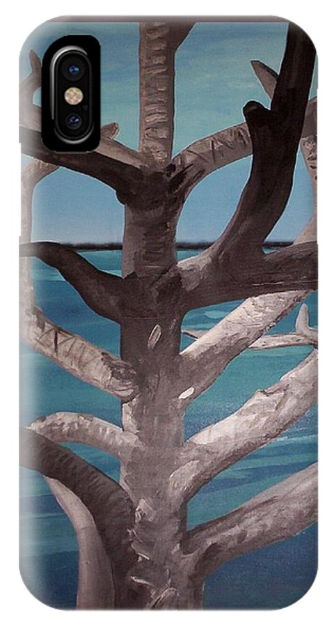 Tree IPhone X Case featuring the painting Tree And Beach by Joan Stratton