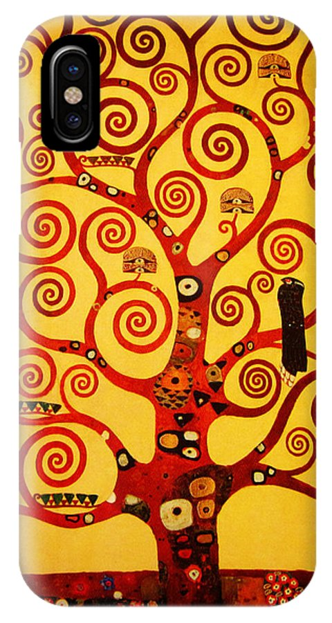 Klimt IPhone X / XS Case featuring the painting Tree Life by Celestial Images