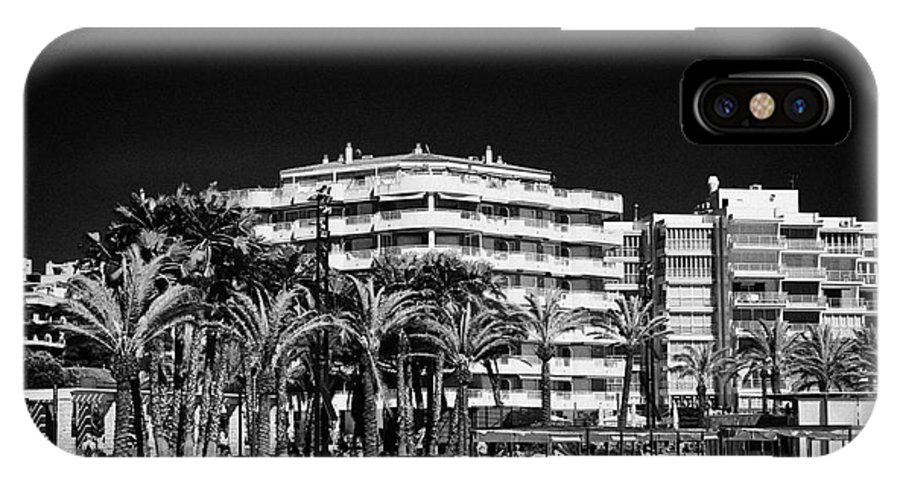 Tree IPhone X Case featuring the photograph Tree Lined Seafront Promenade And Beach Salou Catalonia Spain by Joe Fox