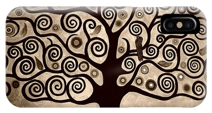 Sepia IPhone X Case featuring the painting Tree Of Life In Sepia by Samantha Black