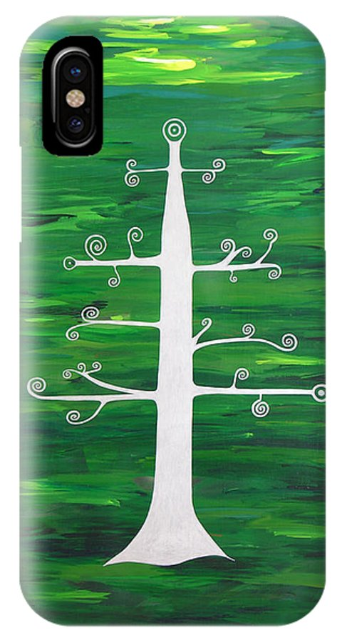 Tree Of Life Divine Healing Meditation Dream Symbol Peace God Goddess Energy Angels Blue Heaven Soul Spirit Yoga Zen Chi Life Force Spiritual Mantra Mandala Sacred Geometry Healing Feng Shui IPhone X Case featuring the painting Tree Of Life - Vigor And Vitality by Elle Nicolai