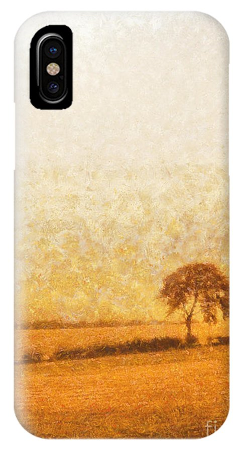 Tree IPhone X Case featuring the painting Tree On Hill At Dusk by Pixel Chimp
