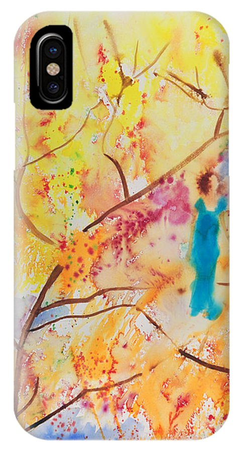 Levitation IPhone X / XS Case featuring the painting Tree Walking by Brook Powell