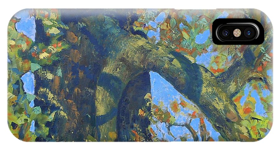 Tree IPhone X Case featuring the painting Tree With Green Leaves by Rosemary Cotnoir