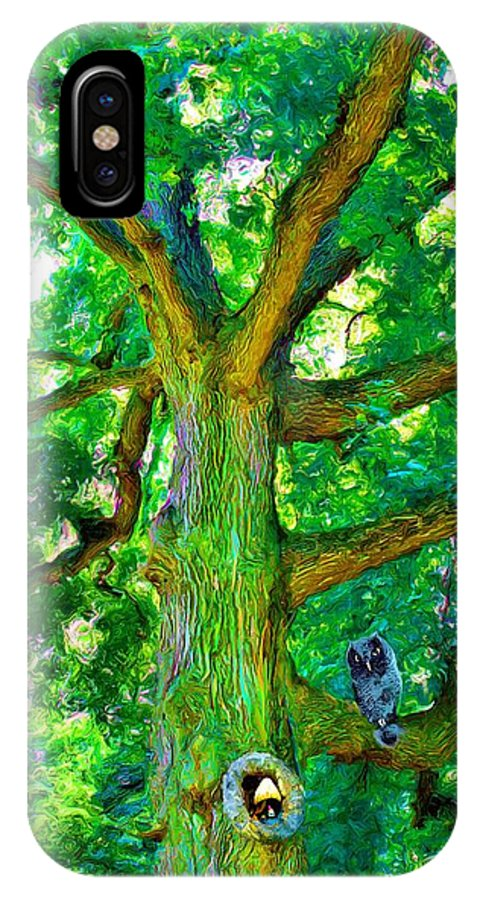Owl IPhone X Case featuring the painting Tree With Owl Gnome And Mushroom by Susanna Katherine