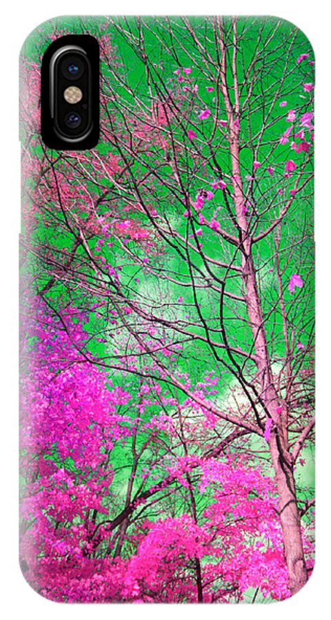 Landscape IPhone X Case featuring the photograph Trees Alive In Pink by Paul Szakacs