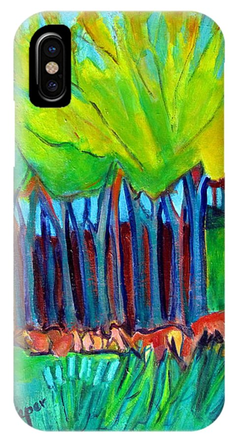 Highly Abstracted Trees And Meadow IPhone X Case featuring the painting Trees And Meadow by Betty Pieper