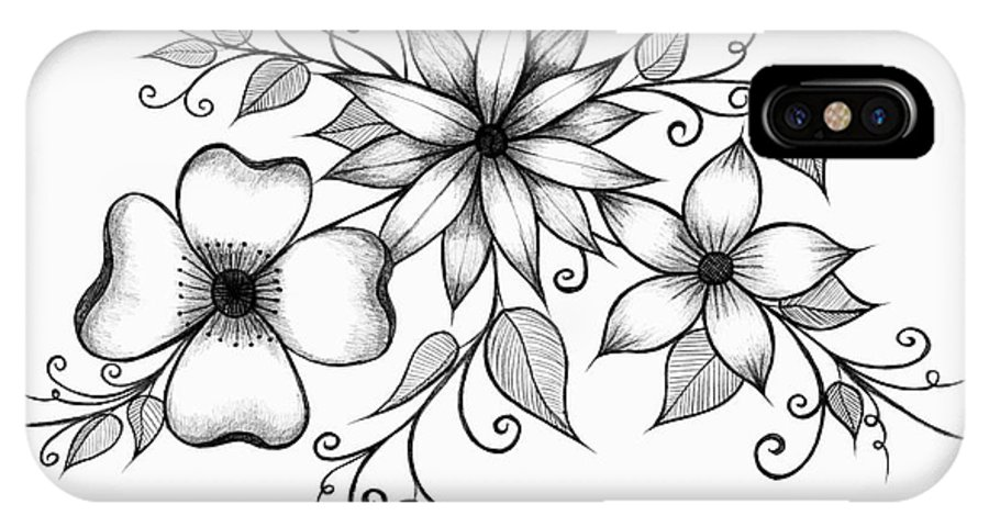 Flower IPhone X Case featuring the drawing Tri-floral Sketch by Alina Davis