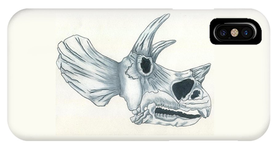 Dinosaur IPhone X Case featuring the drawing Tricerotops Skull by Micah Guenther