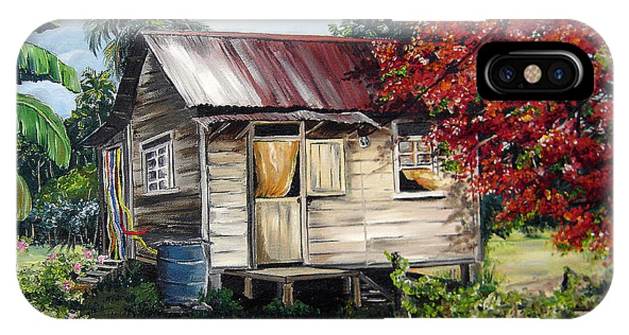 Landscape Paintings Tropical Paintings Trinidad House Paintings House Paintings Country Painting Trinidad Old Wood House Paintings Flamboyant Tree Paintings Caribbean Paintings Greeting Card Paintings Canvas Print Paintings Poster Art Paintings IPhone X Case featuring the painting Trinidad Life 1 by Karin Dawn Kelshall- Best