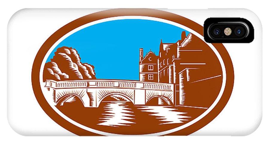 Trinity College Bridge IPhone X Case featuring the digital art Trinity College Bridge Cambridge Woodcut by Aloysius Patrimonio