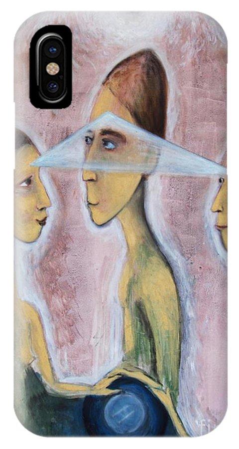 Trinity IPhone X Case featuring the painting Trinity by Corinna Lorena Carrara