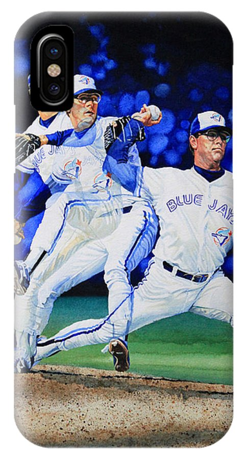 Sports Art IPhone X Case featuring the painting Triple Play by Hanne Lore Koehler