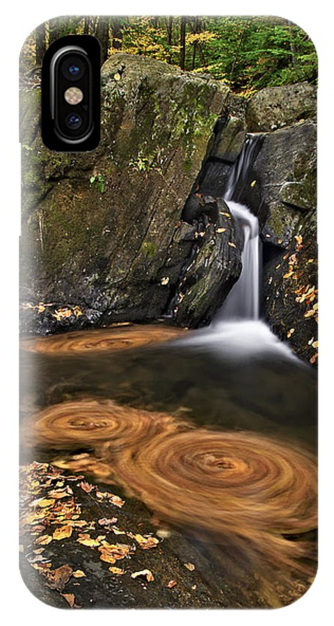Waterfall IPhone X Case featuring the photograph Triple Swirls by Susan Candelario