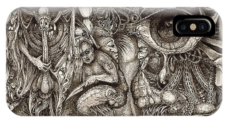 Surreal IPhone X Case featuring the drawing Tripping Through Bogomils Mind by Otto Rapp