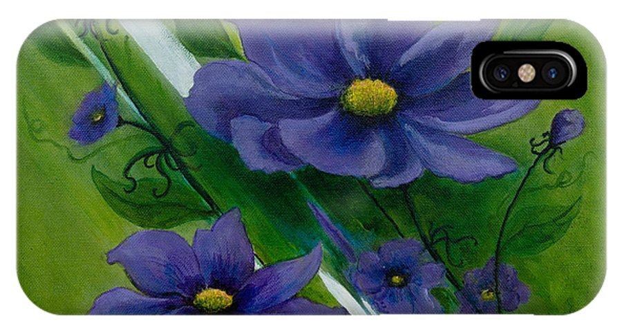 Floral IPhone X Case featuring the painting Floral Triptych 1 by Dawn Broom